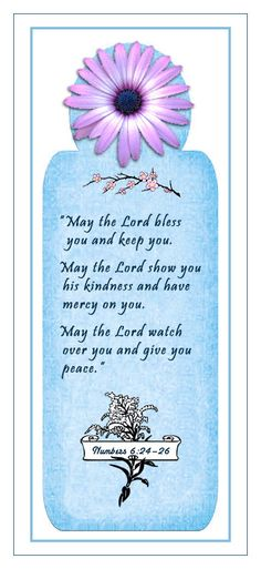 May the Lord bless you and keep you . . . — Numbers 6:24–26 (Scripture bookmark)