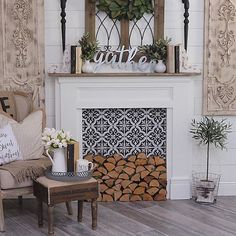 Most Simple Tips Can Change Your Life: Fake Fireplace Cover marble fireplace luxury.Farmhouse Fireplace Fall Decor tv over fireplace corner. Faux Mantle, Farmhouse Fireplace Mantels, Fireplace Mantle, Fireplace Design, Farmhouse Decor, Fireplace Ideas, Diy Faux Fireplace, Fireplace Decorations, Decorative Fireplace