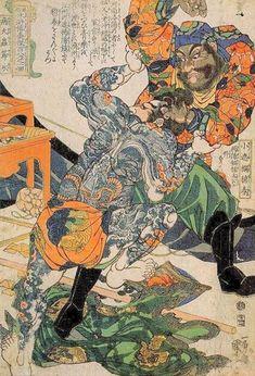 Japanese names: Byôtaichû Setsuyei and Shôsharan Bokushun (小遮攔穆春, 病大蟲薛永) Chinese names: Xue Yong and Mu Chun Scene: Byôtaichû Setsuyei, wearing a loincloth and tattooed, in a furious bare-fisted struggle with Shôsharan Bokushun