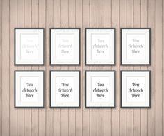 aaea617e6db Set of 8 Frames for Wall Art Display Mockup Wood by UddoStock