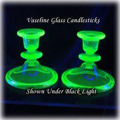 Vaseline Glass Green Candlesticks Depression by Antique Glassware, Vaseline Glass, Glass Candlesticks, Or Antique, Vintage Home Decor, Wwii, Vintage Antiques, Depression, Home Improvement