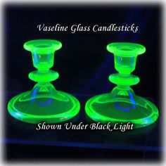 Vaseline Glass Green Candlesticks Depression by SalamanderAlley2