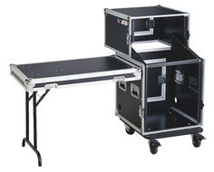 AmazonSmile: DJ Combo Case with Table - Professional Audio Equipment - Slanted Mixer Design - 3 Top, 11 Mid and 12 Bottom Space Storage - ATA 27U By GMI Pro: Musical Instruments