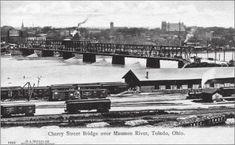 Bridgehunter.com | Cherry Street Bridge (1884) Bh Photo, Toledo Ohio, Altars, Water Crafts, Paris Skyline, Cherry, River, Street, Bridges