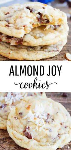 Almond Joy Cookies - Rich coconut cookie dough packed full of coconut, chocolate chips, almonds, and Almond Joy candy pieces. An over the top indulgent treat that will become a new favorite! #cookies #cookiedough #cookierecipes #baking #almondjoy #coconut #chocolate #almonds #desserts #dessertrecipes #recipes #iheartnaptime