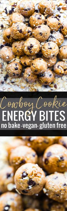 Cowboy Cookies in a no bake ENERGY BITES form! Yes, the best of both worlds. No baking, vegan  energy bites that taste like cowboy cookies! Soft, chewy, and loaded with a variety of flavors. Oats, dark chocolate chips, coconut, almond or peanut butter, maple syrup, chopped walnuts, and a hint of cinnamon coconut sugar  www.cottercrunch.com