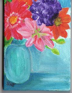 Colorful Flowers in Canning Jar painting  on  by SharonFosterArt, $22.00
