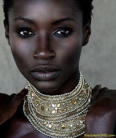 Dark-skinned black women. #beautiful  teamblackhurromg www.BlackHairOMG.com