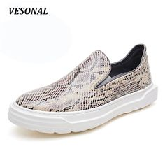 VESONAL New Serpentine Low Top Platform 100% Luxury Genuine Leather Loafers Men Shoes Fashion Mens Shoes Casual Boat Designer