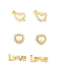 Love & Pearl Hearts Earring Trio: Charlotte Russe $6