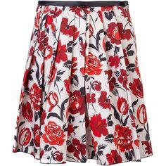 Jil Sander Navy Floral skirt ❤ liked on Polyvore featuring skirts, jil sander, floral knee length skirt, floral print skirt, red skirt and flower print skirt