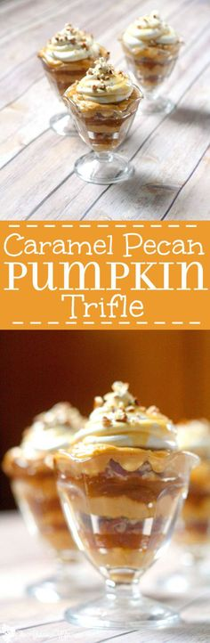 Caramel Pecan Pumpkin Trifle Recipe has all the flavors of Fall with layers of pumpkin spice pudding, sweet caramel sauce, and crunchy pecans to seal the deal. An easy but delicious Fall and Thanksgiving dessert recipe. I LOVE Fall food!