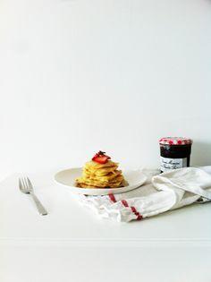 Pancake Stack with Strawberries and Bonne Maman jam.