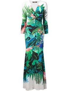 Achetez Roberto Cavalli robe longue à imprimé tropical.
