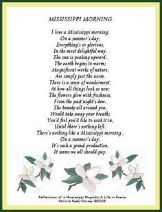 POEM: MISSISSIPPI MORNING Mississippi Poems by Patricia Neely-Dorsey #mississippi