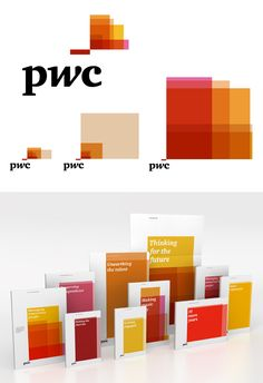 Client: PWC  Designers: Wolff Olins  Description: This scalable identity uses shifting panes of color to adapt and fit any space or medium, using size and scale appropriately and powerfully.