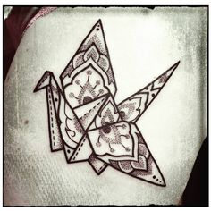 « Splendid #origami #crane by New Zealand #tattoo #artist Eloise Jerard…