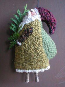 Primitive Folkart Twig Santa Ornament Hooked rug, LJO Collection