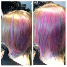 Pink and Blue peek a boo highlights. Pravana is a great long lasting fashion color :D  Hair by Jen Cleroux from B-Bombshell Salon New Westminster, BC Where Geek is Chic!
