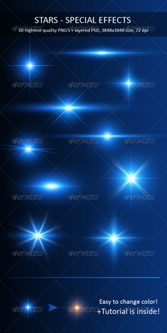 Stars - Special Effects Pack  #GraphicRiver         This is pack of 10 high – quality, ready for use stars. Increase the beauty of your photo, art, flyer, website… Easy to change color, size.  	 Tutorial about changing color is included!  	 About:    10 hight quality stars  .PSD 3848×3848 res., 72 dpi  Fully layered, layers are named, grouped  All at 1 .PSD file  	 See also 12 Optical Flares graphicriver /item/12-optical-flares/125169     Created: 17June11 GraphicsFilesIncluded…