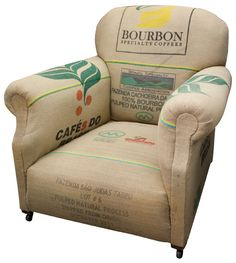 Re-upholstered Grain Sack Armchair by The Old Cinema http://www.theoldcinema.co.uk/