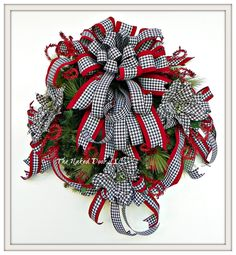 Christmas Wreath - Christmas Houndstooth Wreath - Black White Red Houndstooth - Houndstooth poinsettias - Holiday Wreath - Ready to Ship by TheNakedDoorLLC on Etsy
