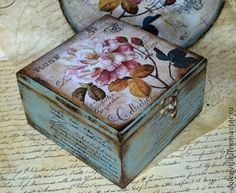 Discover thousands of images about Vintage decoupage box Wooden Box Crafts, Wooden Boxes, Decoupage Box, Decoupage Vintage, Wood Box Decor, Pretty Storage Boxes, Diy And Crafts, Arts And Crafts, Shabby