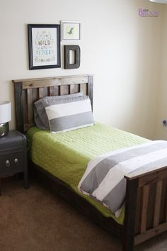 Boys room- I already have that green bedding so just add the grey and white and maybe some navy blue for the boy's bedroom. Need to find letter/art for above the beds.