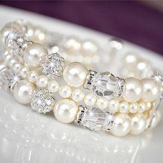 Wedding Cuff Bracelet, Rhinestone Wedding Bracelet, Swarovski Wedding Bracelet, Ivory Pearl Wedding Jewelry. $97.00, via Etsy.