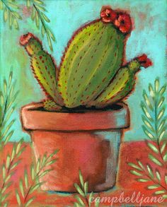 Original Still Life Cactus Plants Garden Vines Leaves Clay Pot Western Folk Art #OutsiderArt  Perfect for the wall in my office.