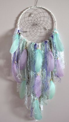 This item is unavailable Lace Dream Catcher / Bohemian Dreamcatcher Decor / Large Dream Catcher / Mint White Dream Catcher / Boho Wall Hanging Dreamcatcher Decor Purple Dream Catcher, Lace Dream Catchers, Dream Catcher Craft, Dream Catcher Boho, Handmade Wall Hanging, Boho Wall Hanging, Mint Nursery, Boho Nursery, Modern Nursery Decor