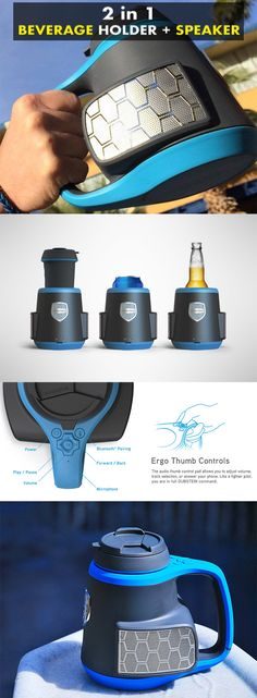 DubStein: A 2 in 1 beverage holder with a 360° stereo sound Bluetooth speaker system. It wirelessly connects to your smart gadget to stream music, internet radio or take phone calls. - CoolShitiBuy.com