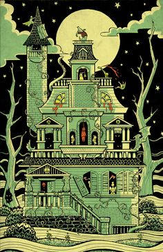 Haunted House print, artist unknown