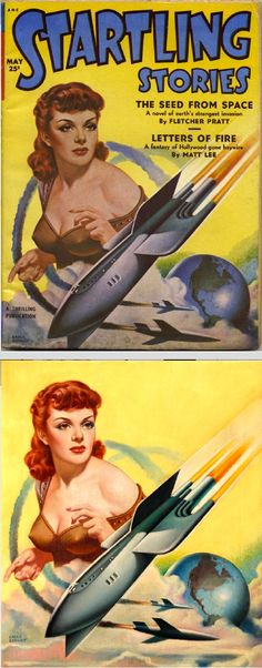 EARLE K. BERGEY - The Seed From Space by Fletcher Pratt - May 1951 Startling Stories - print/cover by pulpcovers.com