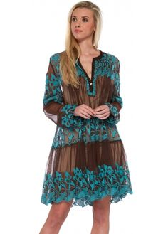 Antica Sartoria Brown Sheer Mesh Beach Dress With Turquoise Floral Embroidery