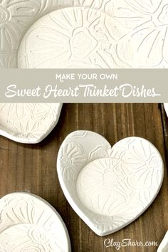 Learn how to make these super cute sweet heart trinket dishes with our fun easy Hand Built Pottery, Slab Pottery, Pottery Mugs, Pottery Bowls, Pottery Art, Pottery Wheel, Pottery Studio, Pottery Painting, Pottery Supplies
