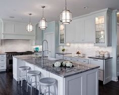 white and grey traditional kitchen - Google Search