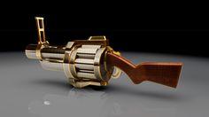 Modélisation Cinema 4D du Grenade Launcher du jeux Team Fortress 2.