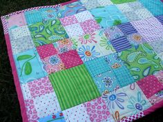 Reversible quilt baby girl quilt in Amelie by Me and My Sister Designs for Moda