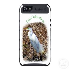 Great White Heron Covers For iPhone 5 ~ The photo was taken from across a pond on Long Island, NY in the month of April. The shot was captured during mating season, showing off the heron's green plumage by the eye and yellow beak.
