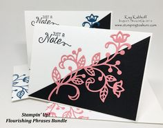 Kay Kalthoff created this card for our Stamping to Share Demo Swap. #stampingtoshare, Stampin' Up!, Flourishing Phrases, Just a Note, All Occasion Card