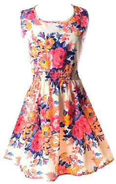 Lovely Bohemian Floral Sleeveless Dress, available in Multiple Sizes.