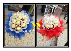 Candy Bouquet Diy, Diy Bouquet, Ferrero Bouquet, Chocolate Bouquet, Wreaths, Table Decorations, Facebook, Cake, Collection