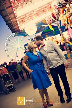 Our engagement pics by MattDeBackere.com at the Illinois State Fair- August 2012 Lexie & Chris  #engagement #pictures #carnival #statefair #wedding #couple