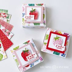 Diy Box, Stampin Up, Berries, Christmas Cards, Strawberry, Paper Crafts, Mini, Sweet, Petra