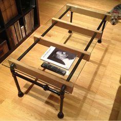 Pays d'amérique forgé table basse de fer table basse en bois verre conduites d'eau créative Tables basses table basse