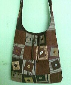 Patchwork hand bag Playing with buttons
