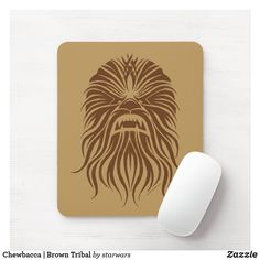 Chewbacca | Brown Tribal Mouse Pad Holiday Cards, Christmas Cards, Star Wars Store, Envelope Labels, Chewbacca, Star Wars Gifts, Custom Mouse Pads, Personalized Stationery, Dog Bowtie
