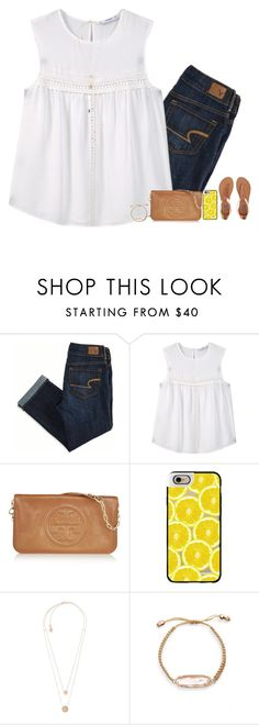 """pm me to FaceTime or Text"" by remiii13 ❤ liked on Polyvore featuring American Eagle Outfitters, MANGO, Tory Burch, Casetify, Michael Kors, Kendra Scott and Billabong"