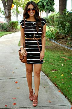 Black and white dress with purse and Brown Wedges dress shoes style summer fashion wedges fashion and style stripe dress summer fashion ideas girls fashion womens summer fashion women's summer fashion summer fashion and style